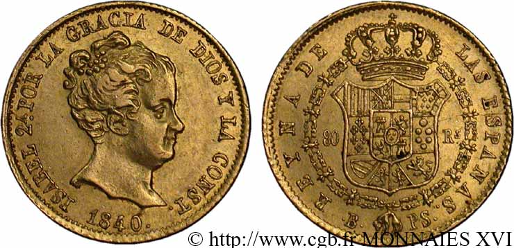 ESPAGNE - ROYAUME D ESPAGNE - ISABELLE II 80 reales en or 1840 Barcelone TTB