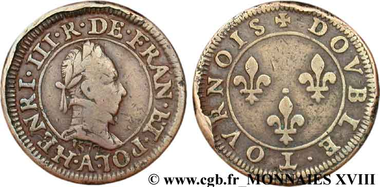 HENRI III Piéfort du double tournois, 1er type de Paris 1577 Paris, Moulin des Étuves TB+