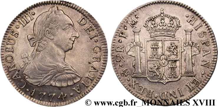 SPAIN - KINGDOM OF SPAIN - CHARLES III Double réal ou plata-real de a 2 1774 Mexico MS