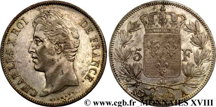 5 francs Charles X, 2e type 1829 Paris F.311/27 TTB