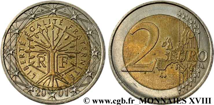 EUROPEAN CENTRAL BANK 2 euro France, tranche néerlandaise 2001 AU