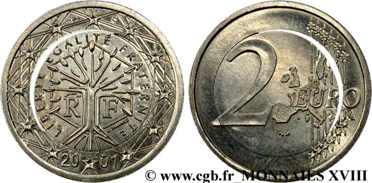 "BANQUE CENTRALE EUROPEENNE 2 euro France, ""Blanche"" 2001 SUP"