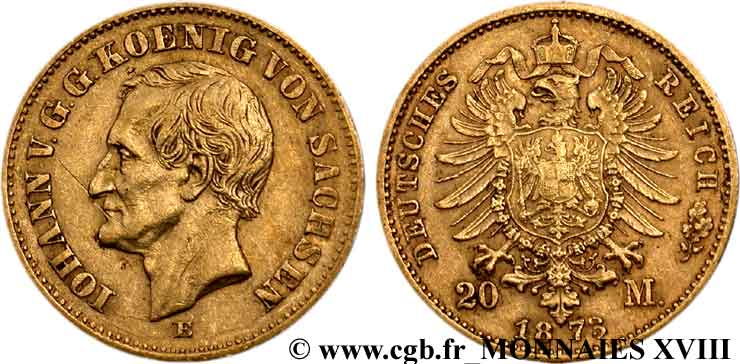 ALLEMAGNE - ROYAUME DE SAXE - JEAN 20 marks or, 2e type 1873 Dresde TTB  45