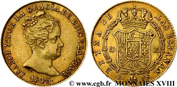 ESPAGNE - ROYAUME D ESPAGNE - ISABELLE II 80 reales en or 1845 Barcelone TTB