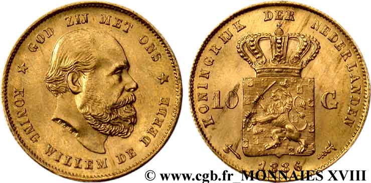 PAYS-BAS - ROYAUME DES PAYS-BAS - GUILLAUME III 10 guldens or ou 10 florins or, 2e type 1886 Utrecht SUP  58