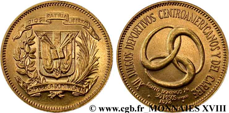 RÉPUBLIQUE DOMINICAINE 30 pesos or 1974  SPL