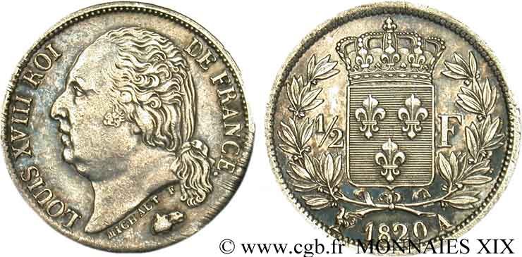 1/2 franc Louis XVIII 1820 Paris F.179/25 SUP