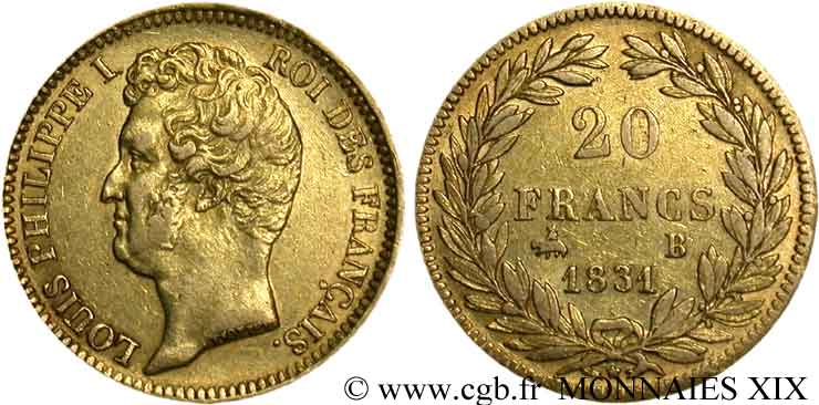 20 francs or Louis-Philippe, Tiolier, tranche inscrite en relief 1831 Rouen F.525/3 TTB