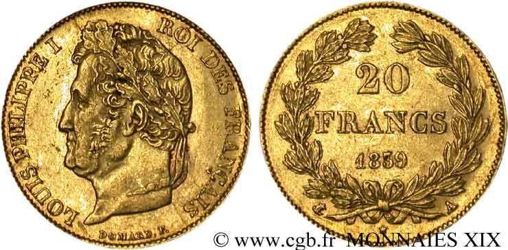 20 francs Louis-Philippe, Domard 1839 Paris F.527/20 TTB