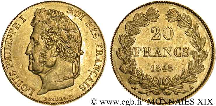 20 francs Louis-Philippe, Domard 1848 Paris F.527/38 AU