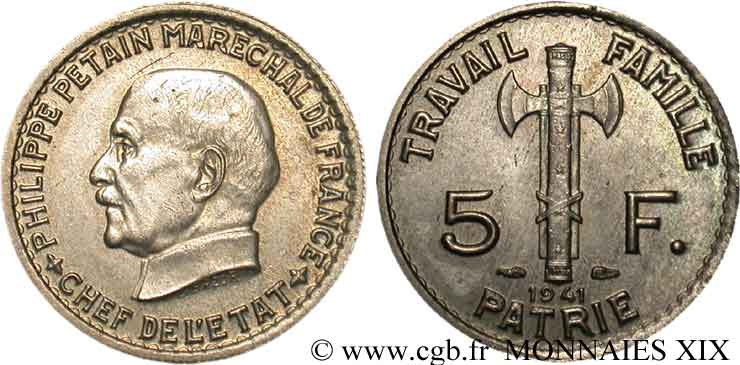 5 francs Pétain 1941 Paris F.338/2 SUP