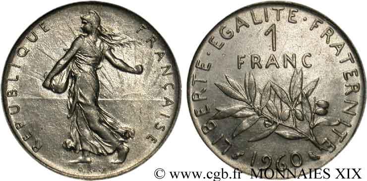 1 Franc Semeuse Nickel Avec Le Gros 0 1960 Paris F 226 5 V19 1787