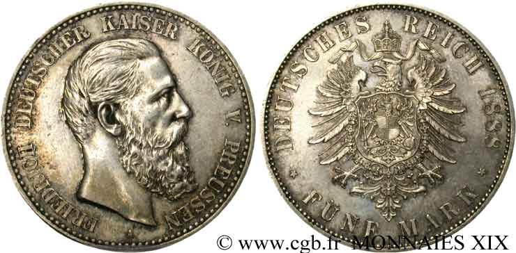 ALLEMAGNE - ROYAUME DE PRUSSE - FRÉDÉRIC III 5 mark 1888 Berlin SUP