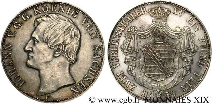 ALLEMAGNE - ROYAUME DE SAXE - JEAN Double thaler 1859 Dresde SUP