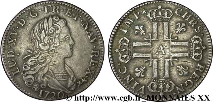 LOUIS XV DIT LE BIEN AIMÉ Petit louis dargent 1720 Paris TTB+/TTB