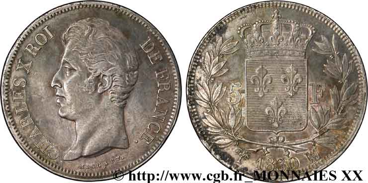 5 francs Charles X, 2e type 1830 Marseille F.311/49 SUP