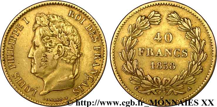 40 francs or Louis-Philippe 1838 Paris F.546/11 TTB