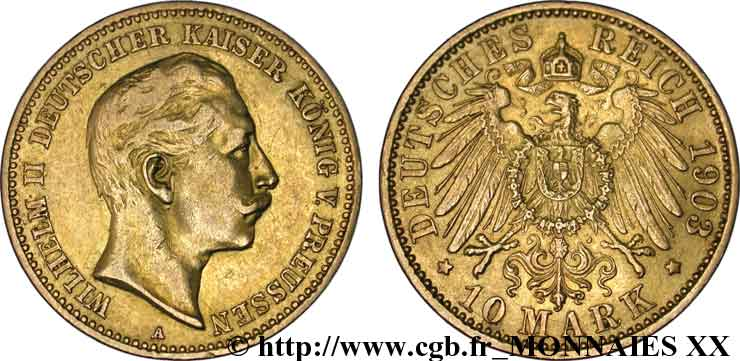 ALLEMAGNE - ROYAUME DE PRUSSE - GUILLAUME II 10 marks or, 2e type 1903 Berlin TTB  45