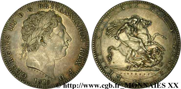 GRANDE-BRETAGNE - GEORGES III Couronne (crown) 1819, An 59 Londres SUP  55