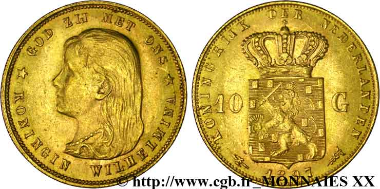 PAYS-BAS - ROYAUME DES PAYS-BAS - WILHELMINE 10 guldens or ou 10 florins 1er type 1897 Utrecht SUP