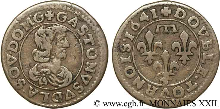 DOMBES - PRINCIPALITY OF DOMBES - GASTON OF ORLEANS Double tournois, type 16 XF