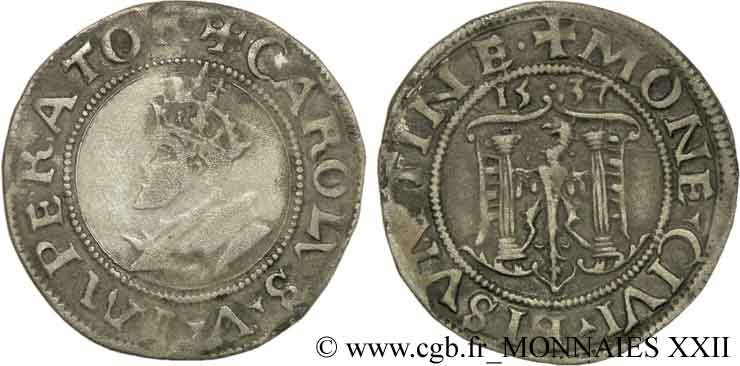 TOWN OF BESANCON - COINAGE STRUCK AT THE NAME OF CHARLES V Carolus, pré-série ? XF/AU