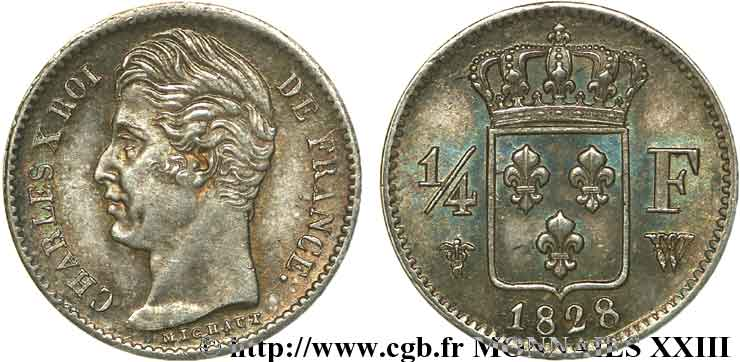 1/4 franc Charles X 1828 Lille F.164/28 SUP