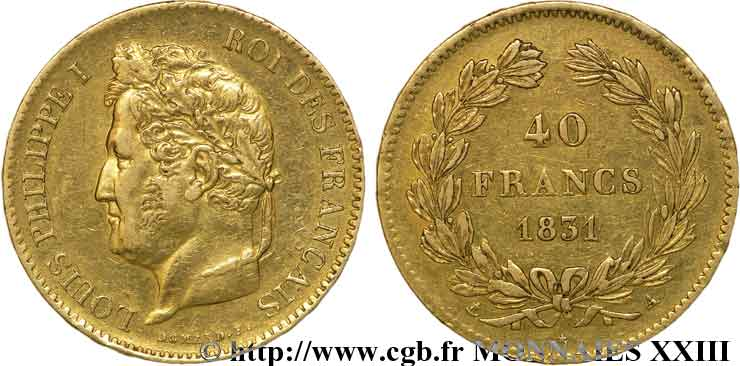 40 francs or Louis-Philippe 1831 Paris F.546/1 TTB