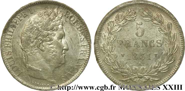5 francs, Ier type Domard, tranche en relief 1831 Lille F.320/13 SUP