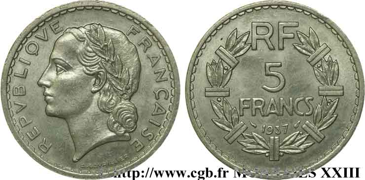5 francs Lavrillier en nickel 1937 Paris F.336/6 TTB