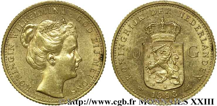 PAYS-BAS - ROYAUME DES PAYS-BAS - WILHELMINE 10 guldens or ou 10 florins 1er type 1898 Utrecht SUP