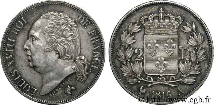 2 francs Louis XVIII 1816 Paris F.257/1 SUP