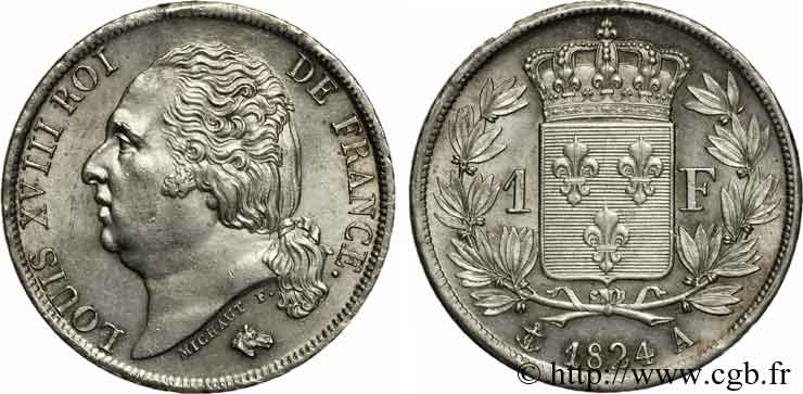 1 franc Louis XVIII 1824 Paris F.206/56 SUP