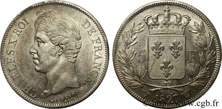 5 francs Charles X, 2e type 1827 Lille F.311/13 SUP