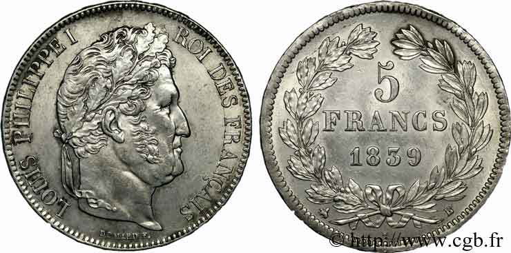 5 francs, IIe type Domard 1839 Rouen F.324/76 SUP