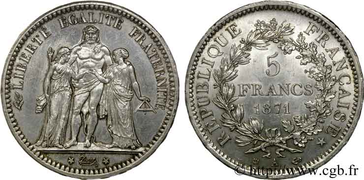 5 francs de la Commune 1871 Paris F.334/3 SUP