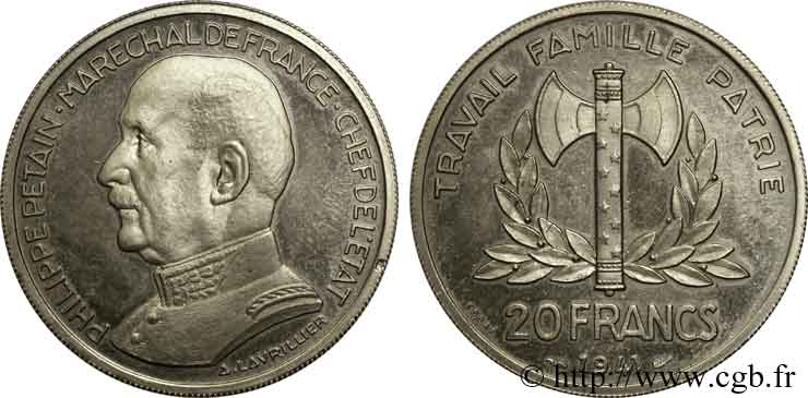 Essai de 20 francs Pétain en Nickel par Cochet 1941 Paris VG.5566 SPL