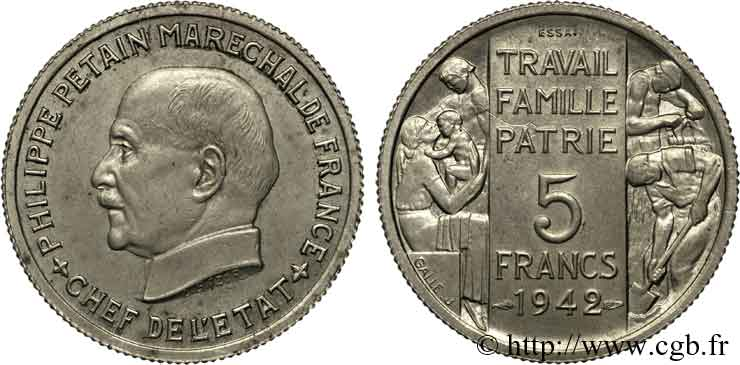 Essai grand module de 5 francs de Pétain en cupro-nickel de Bazor et Galle 1942 Paris VG.5610 SPL