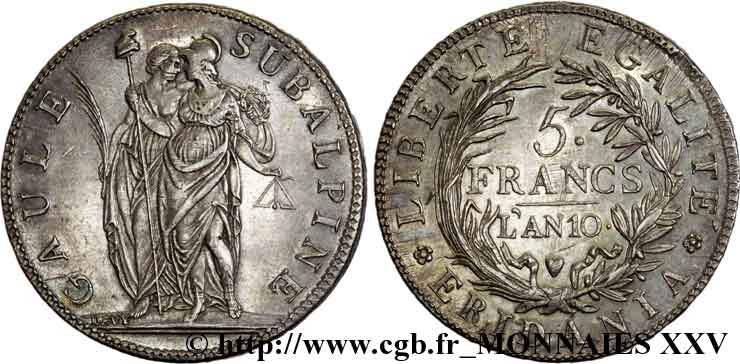 5 francs 1802 Turin VG.846 SUP