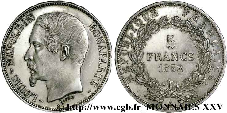 5 francs Louis-Napoléon 1852 Paris F.329/1 SUP