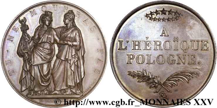 POLOGNE - INSURRECTION DE POLOGNE Médaille BR 51, soutien aux Polonais 1831 (chiffres romains) Paris