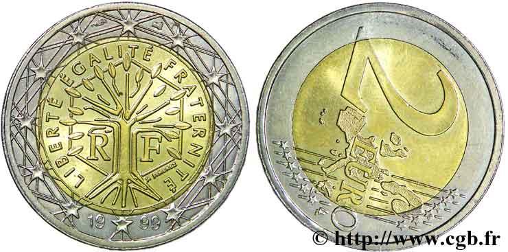 Europäische Zentralbank 2 Euro France Axe Décalé 1999 Pessac