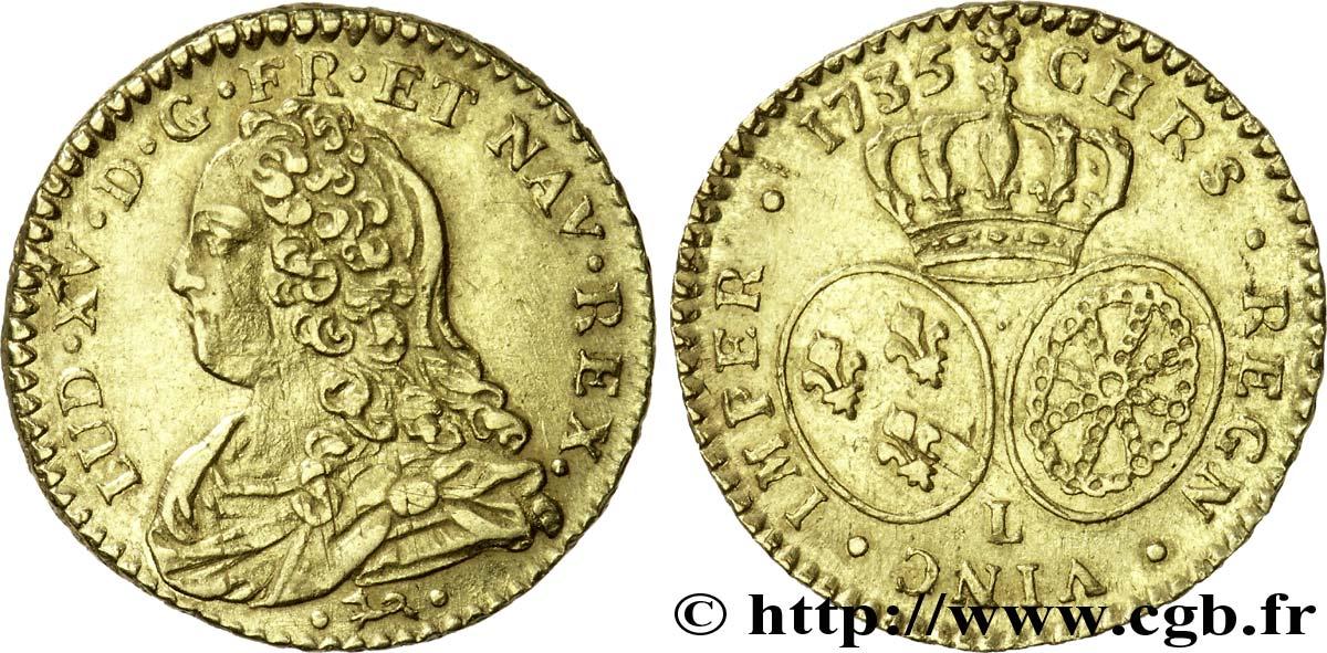 66332f5270eb25 LOUIS XV DIT LE BIEN AIMÉ Demi-louis d or dit aux lunettes 1735 Bayonne