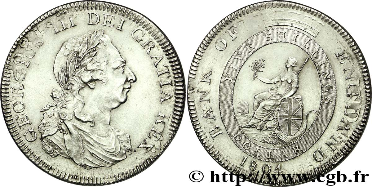 GRANDE-BRETAGNE - GEORGES III Dollar ou 5 schillings 1804 Londres SUP