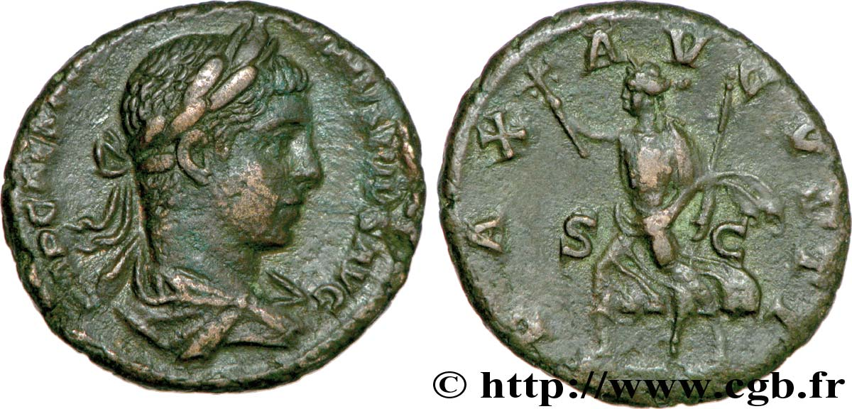 ELAGABALUS As, (MB, Æ 25) XF
