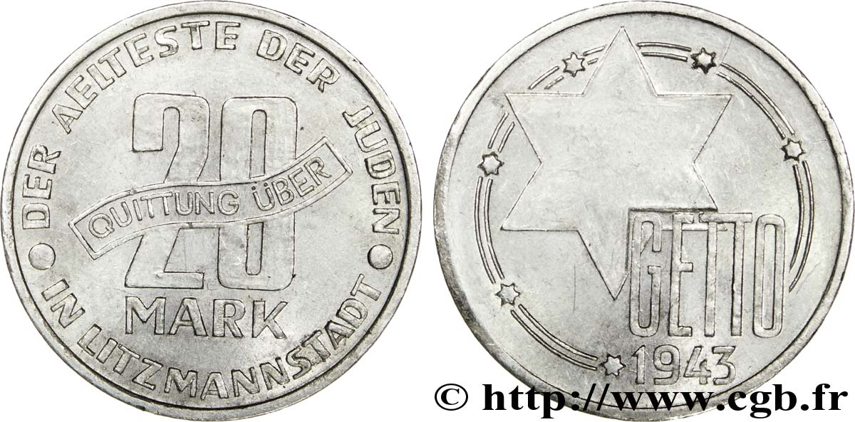 POLOGNE - OCCUPATION ALLEMANDE - GHETTO DE LODZ 20 mark 1943 Lodz SUP