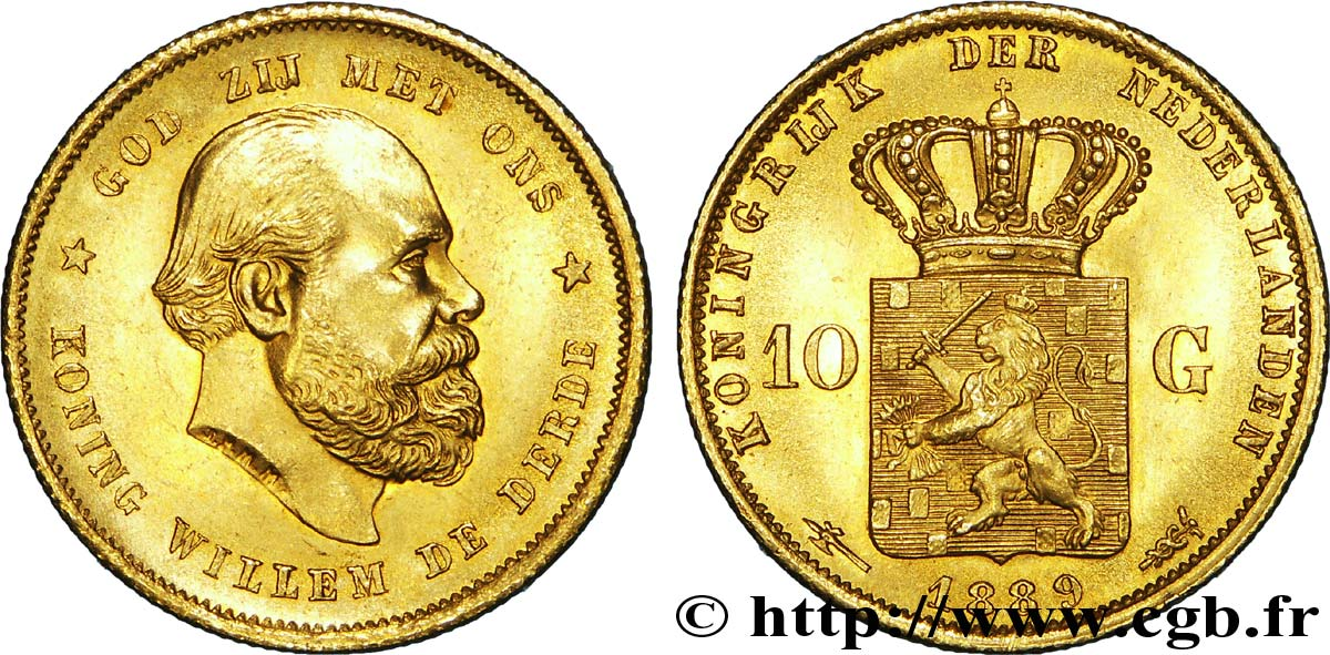 PAYS-BAS - ROYAUME DES PAYS-BAS - GUILLAUME III 10 gulden or, 2e type 1889 Utrecht SUP  60