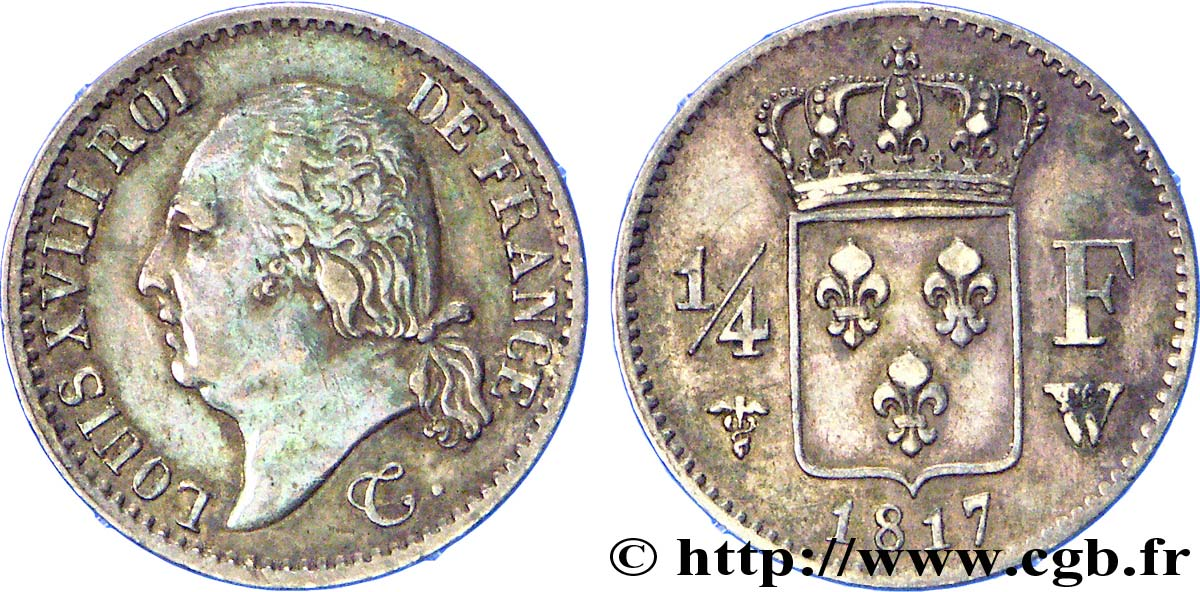 1/4 franc Louis XVIII 1818 Paris F.163/12 SUP