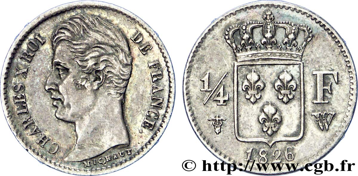 1/4 franc Charles X 1826 Lille F.164/9 SUP
