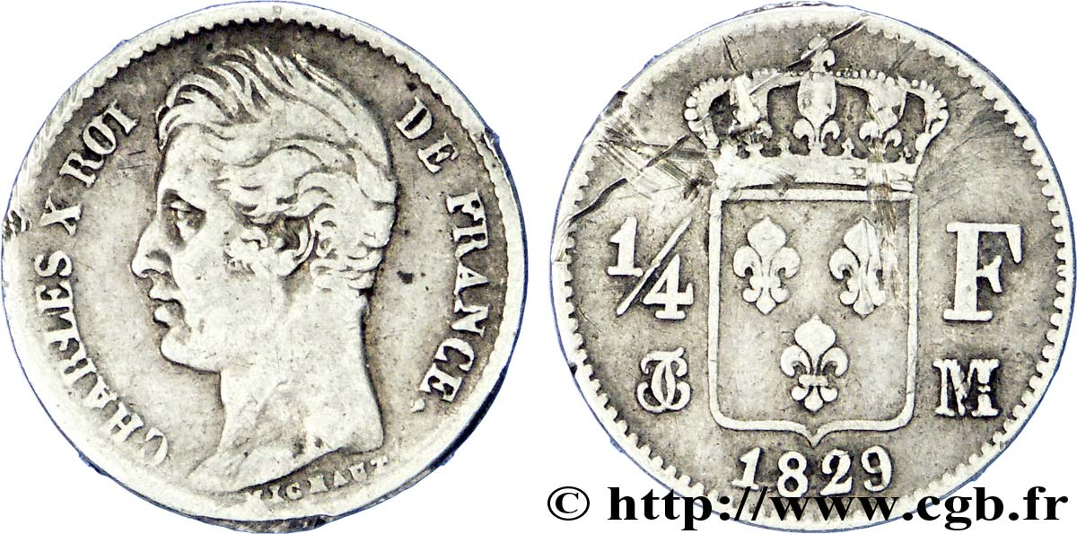 1/4 franc Charles X 1829 Toulouse F.164/36 TB